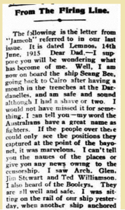 Extract from the Ouyen Mail 28 Jul 1915, source: TROVE, NLA.