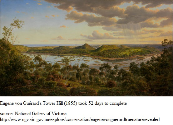 A painting of Tower Hill in 1855 by Eugene von Guérard. http://www.ngv.vic.gov.au/explore/conservation/eugenevonguerardtruenaturerevealed
