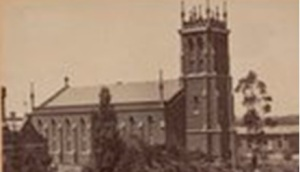 Photo of St Paul's Church, Melbourne, c1875, from collection of State Library of Victoria