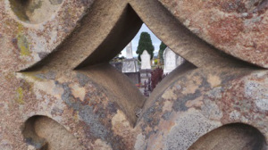 View through St Paul's Cross at Geelong Eastern Cemetery