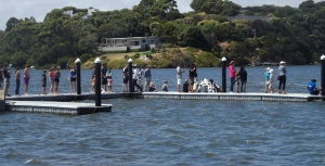 Spectators urge on their teams at the Australian Whaleboat Racing Championship 2014