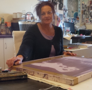 STiW mentor Ann Hegarty puts finishing touches to her STiW screenprint design. Printed products will be available at the Made For Me Market April 26th.
