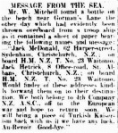 Warrnambool Standard reprints message found by W. Mitchell at Gorman's Lane . 22 Feb 1915