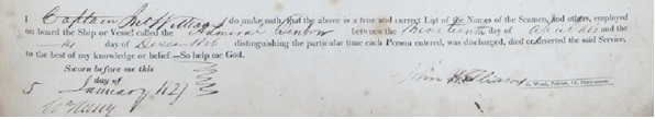 Example of a Muster's declaration. Source: TNA BT98/85, 1827