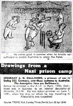 1944 Cricket Cartoon by Srgt A.G.Dallimore, a POW in Stalag 383
