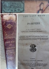 "1834 book titled ""The Last Days of Pompeii"" bound by Lizzie's father James Journeaux. picture by Jenny Fawcett"