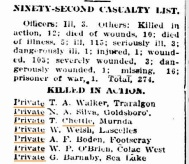 92nd Casualty List showing Thomas Chettle K.I.A. source: Colac Reformer, Oct.16, 1915. TROVE, NAA