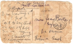 James Booley's postcard from Gallipoli to his sister Jean at Ouyen in Victoria's western district. picture by J. Fawcett 2015