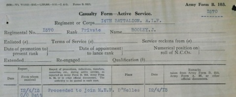 James Booley WSR NLA evidence of proceeding to Gallipoli
