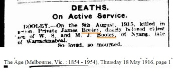 James Booleys Death Notice, Age, 18 May 1916