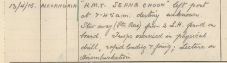 14th Battalion AIF, Unit Diary extract showing discovery of stowaway Private Rose. (picture source: Australia War Memorial. AWM4 Item 23/31/7, April 1915, 14th Battalion )