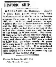 Paper source: TROVE, NLA, The Argus 1850.
