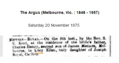 Marriage notice for Lucy Ellen Royal, daughter of Sarah Harriett Royal (nee McPherson). Source: TROVE, NLA, The Argus 20 Nov.1875. picture by J. Fawcett 2016