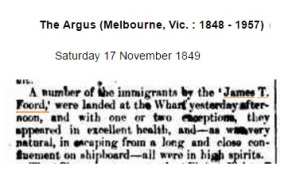 Sarah Harriet McPherson 1849 news report of immigrants landing from James T Foord