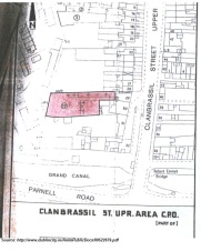 City of Dublin map showing Clanbrassil street, and numbers 26-32 where Edmund Lawless is recorded as living. (source: http://www.dublincity.ie/AnitePublicDocs/00522679.pdf)