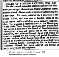 Death of Edmund Lawless 1863