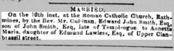 News report of marriage Annette Maria Lawless of 'Upper Clanbrassil street' whose father was named Edmund. Source; Commercial Journal 15 Sep.1855., Irish Newspaper Collection, FINDMYPASt