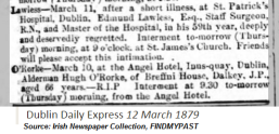 Surgeon Edmund Lawless death notice 1879