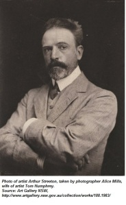 Photo of artist Arthur Streeton, taken by photographer Alice Mills, wife of artist Tom Humphrey. Source: Art Gallery NSW, http://www.artgallery.nsw.gov.au/collection/works/188.1983/