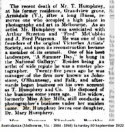 Obituary: Tom Humphrey (1859-1922). Source: The Australasian (Melbourne, Vic. : 1864 - 1946) Saturday 30 September 1922, TROVE, NLA.
