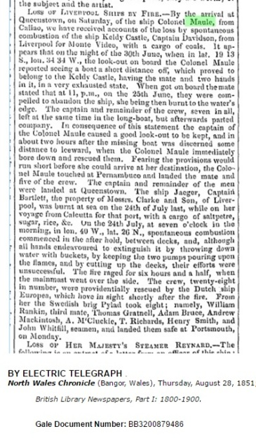 Report of the loss of the Keldy Castle and rescue by the Colonel Maule