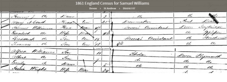 1861 UK Census showing Samuel Williams born at Ivybridge in Devon country