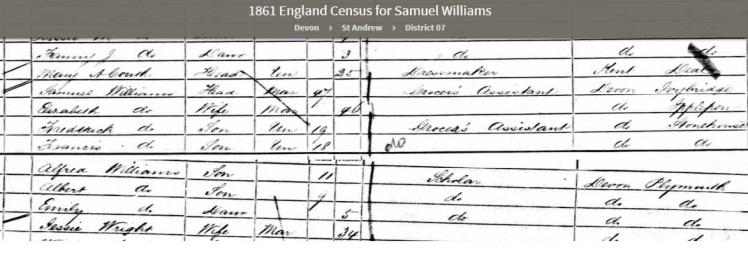 1861 UK Census showing Samuel Williams born at Ivybridge in Devon country