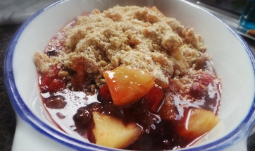 Strawberry and Pineapple crumble with sultanas, honey and oats. (c) J. Fawcett 2016