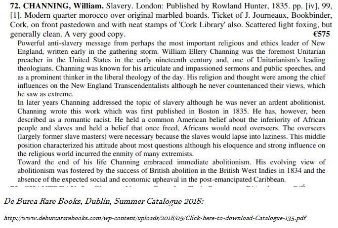 de burca rare books, dublin, summer catalogue 2018