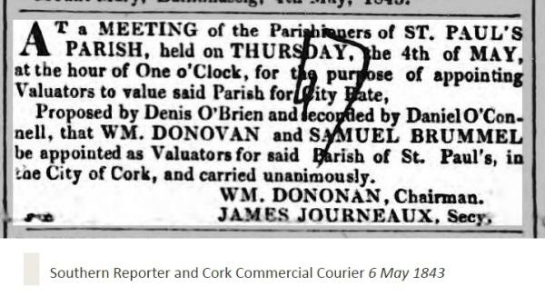 james journeaux 1843 secretary of st pauls 1843, cork