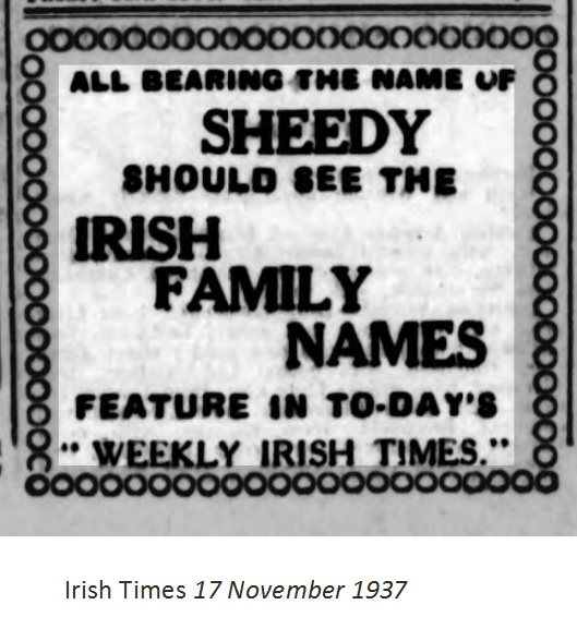 Sheedy in Irish Weekly Times 17 Nov 1937